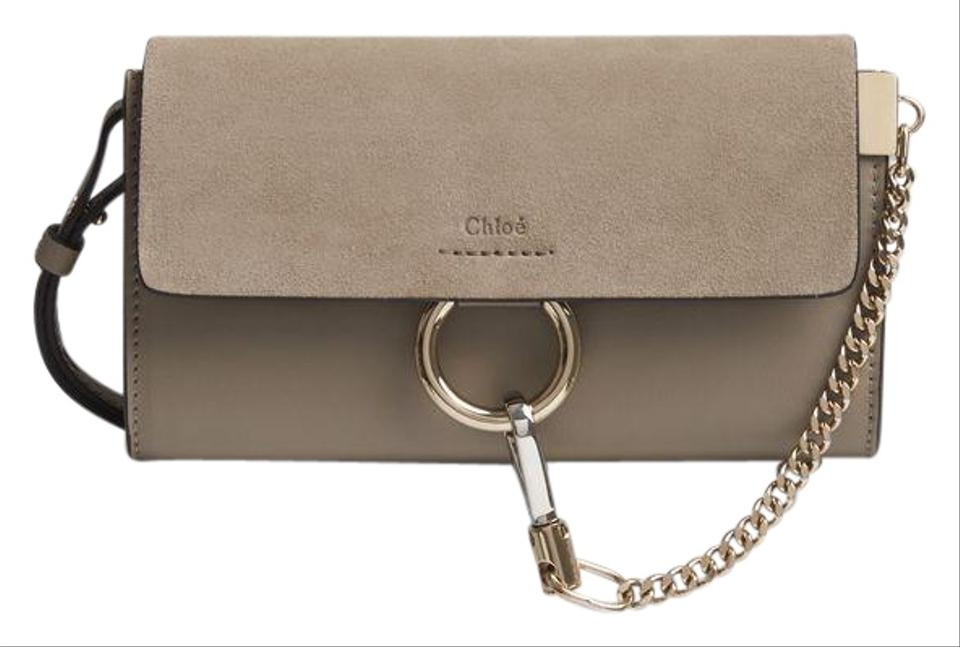 24b3d54030774 Chloé Faye Long Wallet In Smooth and Calfskin with Adjustable Strap Motty  Grey Suede Leather Cross Body Bag