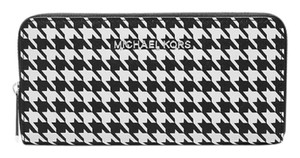 Michael Kors Jet Set Travel Houndstooth Large Zip Around Continental Wallet Clutch