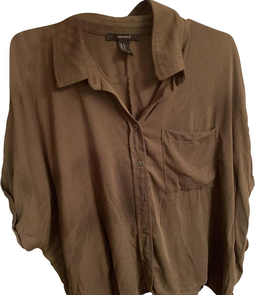 7ba81bb9872299 Forever 21 Army Green Button Down Blouse Size 4 (S) - Tradesy