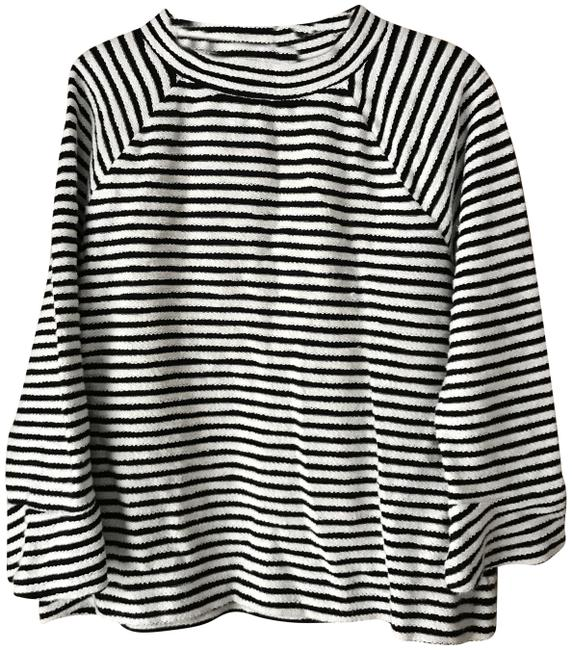 Preload https://img-static.tradesy.com/item/24887178/ann-taylor-loft-white-and-black-stripe-pullover-tunic-size-8-m-0-2-650-650.jpg