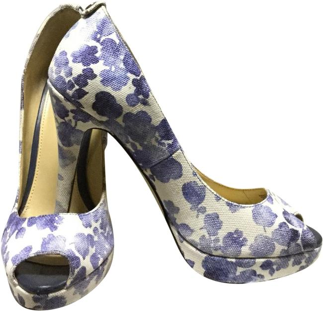 Michael Kors White/ Blue Mk Floral Peep Toe Pump Platforms Size US 7 Regular (M, B) Michael Kors White/ Blue Mk Floral Peep Toe Pump Platforms Size US 7 Regular (M, B) Image 1