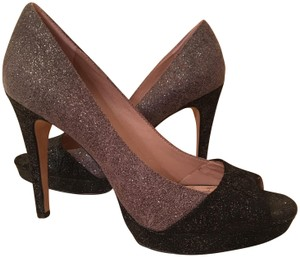 d68b9a43bbd9 Vince Camuto Peep Toe Metallic Sparkle Leather Upper Color Blocked Urban  Gray   Black Platforms