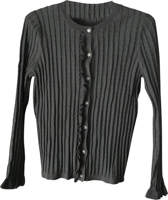Preload https://img-static.tradesy.com/item/24887300/ann-taylor-brown-ruffled-placket-cardigan-size-8-m-0-1-650-650.jpg