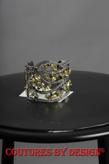 St. John St John Open Cuff Silver Tone with Citron Crystals
