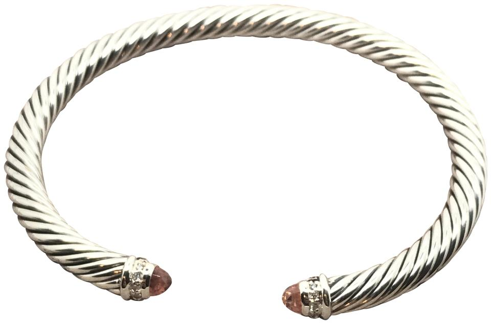 b8898ae0a3c63 David Yurman Pink Sterling Silver Cable Classics with Morganite and  Diamonds Bracelet 48% off retail
