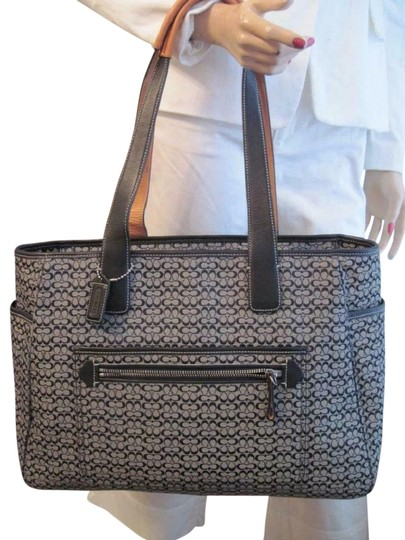 Preload https://img-static.tradesy.com/item/24887549/coach-vintage-signature-large-unisex-multifunction-tote-black-canvas-jacquard-leather-diaper-bag-0-3-540-540.jpg