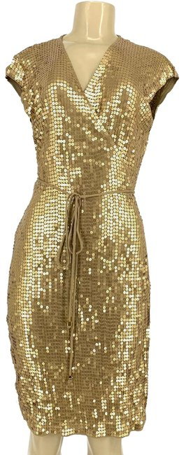 Item - Gold Wrap Mid-length Night Out Dress Size 12 (L)