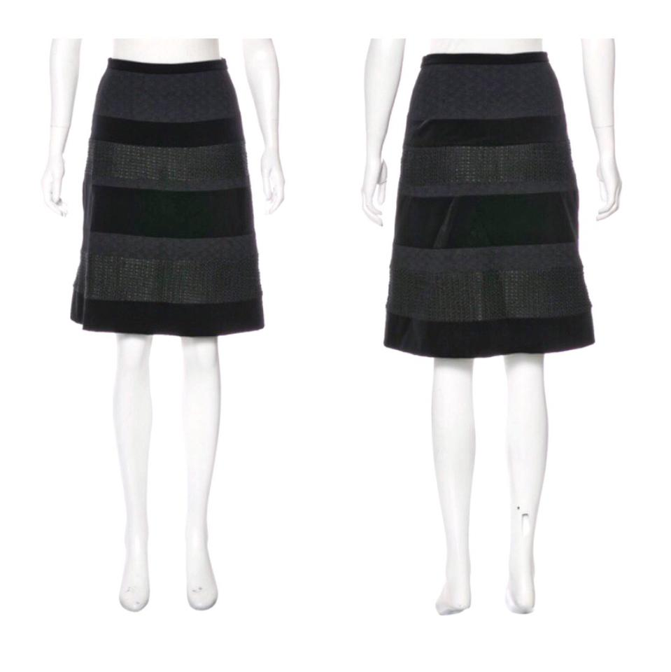 6613fbc27e6 Piazza Sempione Black Velvet and Wool Pencil Skirt Size 6 (S, 28 ...