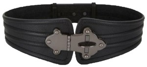 BCBGMAXAZRIA leather silver toned turn lock buckle wide size s small waist