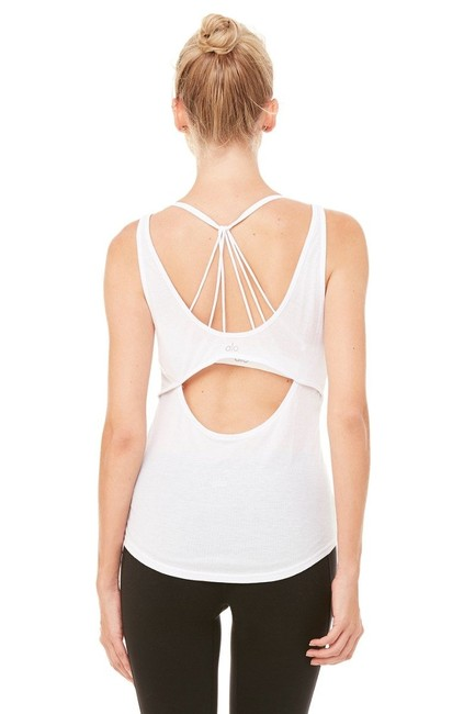 Item - White 'sculpt' Cutout Ribbed Activewear Top Size 4 (S)