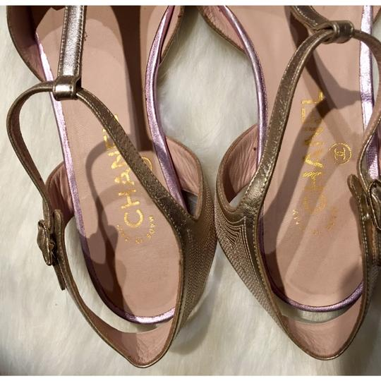 Chanel T Strap Ankle Strap Cap Toe Multicolor Rare gold / lavender Sandals Image 4