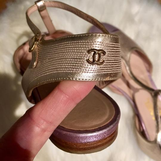 Chanel T Strap Ankle Strap Cap Toe Multicolor Rare gold / lavender Sandals Image 8
