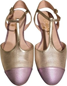 Chanel T Strap Ankle Strap Cap Toe Multicolor Rare gold / lavender Sandals