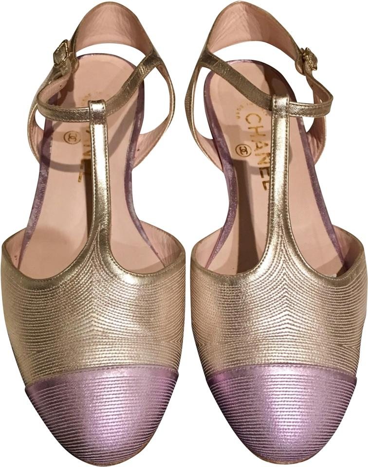 79fd673b24a Chanel Gold   Lavender Rare Cc Pearlescent Leather and Cap Toe T -strap  Sandals. Size  EU 38.5 (Approx.