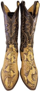 Justin Boots Man Snake Python Western Cowboy Man Size 7.5 Lucchese BROWN Boots