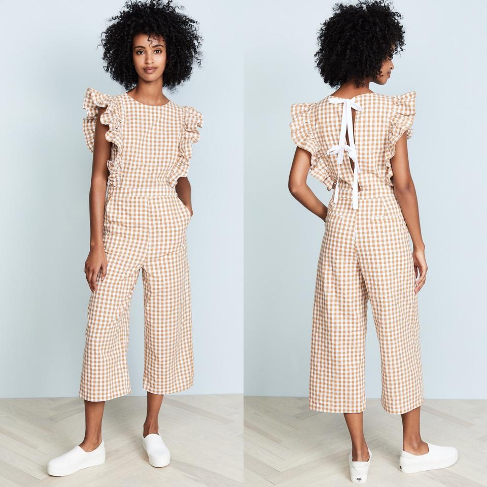 d9b6dcf3fb13 English Factory Gingham Ruffle Sleeve with Ribbon Romper Jumpsuit - Tradesy