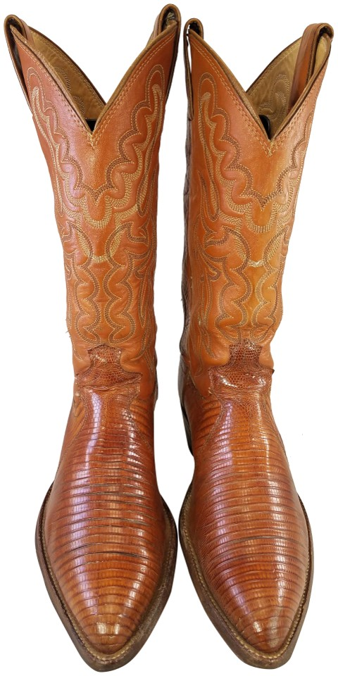 100923ddf91 Justin Boots Tan Exotic Genuine Leather Vintage Western Cowboy Man D  Boots/Booties Size US 7 Regular (M, B)