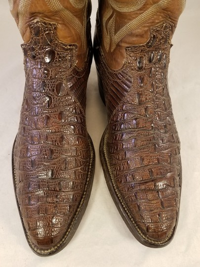 Justin Boots Man Genuine Alligator Western Cowboy Man Size 7d Lucchese BROWN Boots