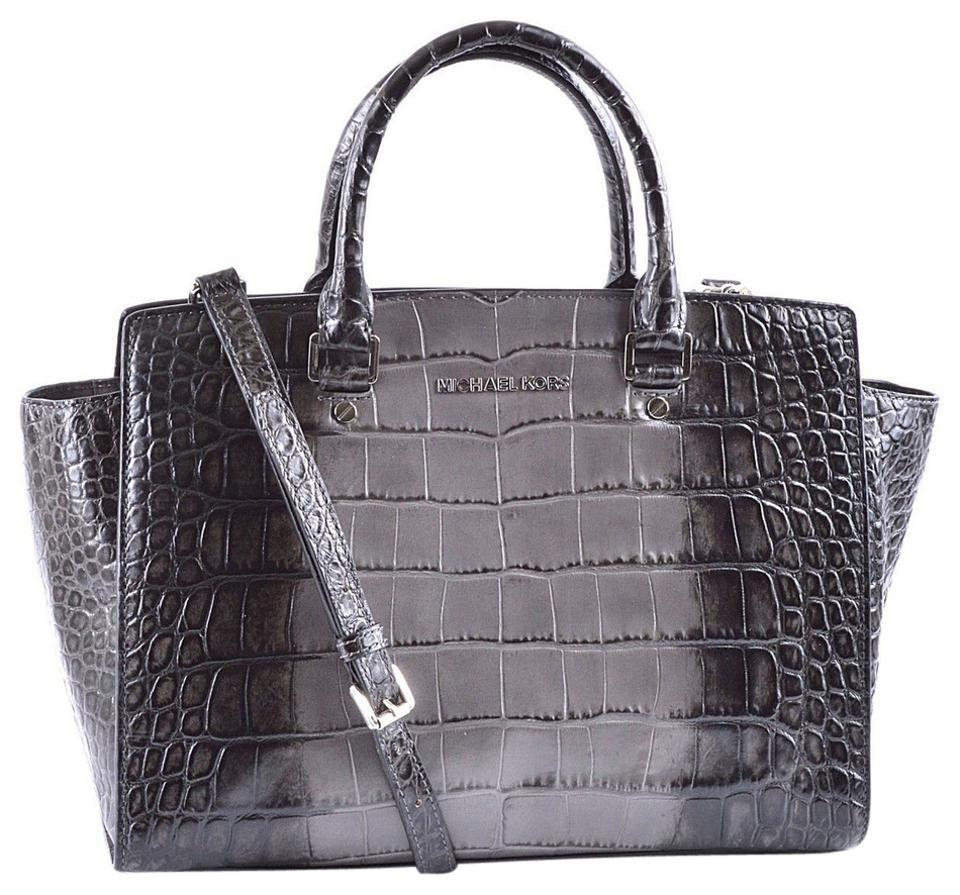 8f5c2cdb8d71 Michael Kors Large Selma Crocodile Embossed Satchel in Grey Silver Hardware  Image 0 ...