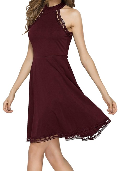 Preload https://img-static.tradesy.com/item/24887943/shein-burgundy-flare-and-round-neck-short-night-out-dress-size-4-s-0-1-650-650.jpg