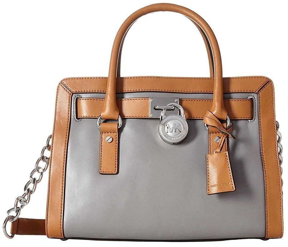 5abcc4336ca7 Michael Kors Hamilton Frame Out Leather   Satchel in Steel Grey Acorn Silver  hardware Image ...
