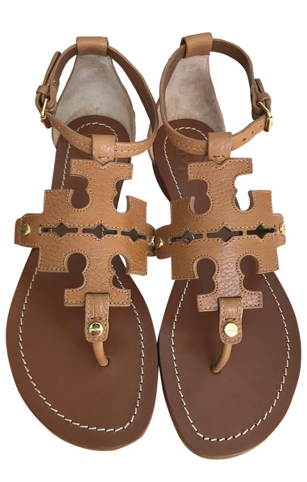 6037073ed5bf Tory Burch Brown Elba Tumbled Leather Flat Thong Sandals Size US 7 ...