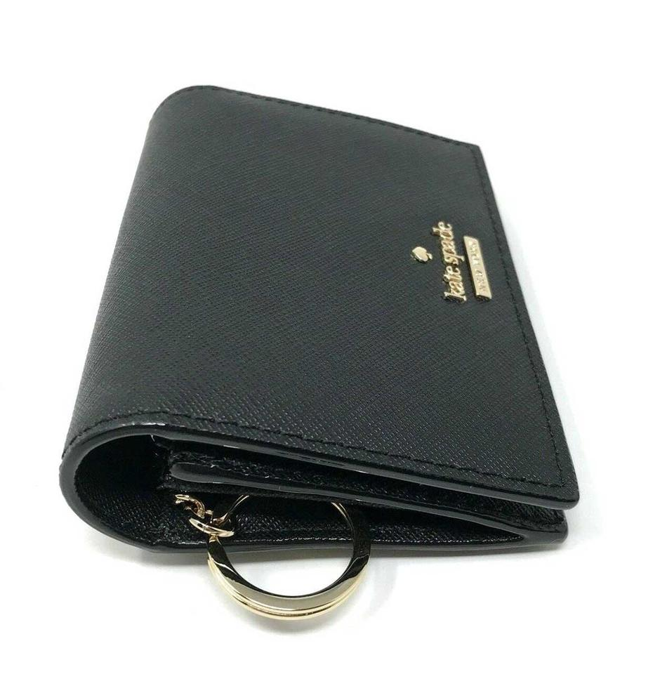 Kate Spade Black Cameron Street Leather Id With Key Ring