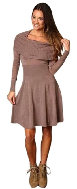Item - Brown Sheila Cowl Neck Wool Sweater Short Casual Dress Size 2 (XS)