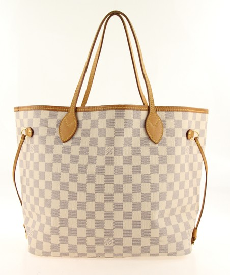 Louis Vuitton Neverfull Mm Canvas White Tote in Blue