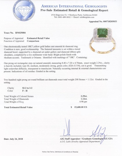 Yellow Gold 2.29ct Emerald and 1.12ctw Diamond 18kt Ring