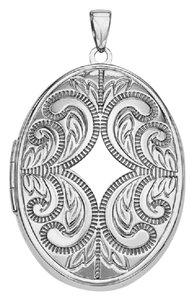 Apples of Gold STERLING SILVER OVAL SCROLL LOCKET NECKLACE