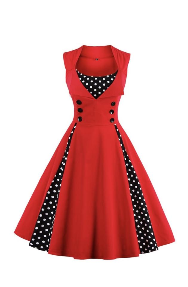 57f6a0bf9d SheIn Red Flared Vintage Mid-length Night Out Dress Size 2 (XS ...