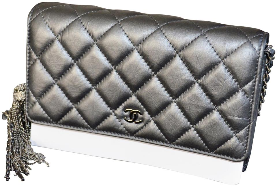 214b63f820b9 Chanel Wallet on Chain Classic Iridescent Quilted Handbag Silver Leather  Cross Body Bag