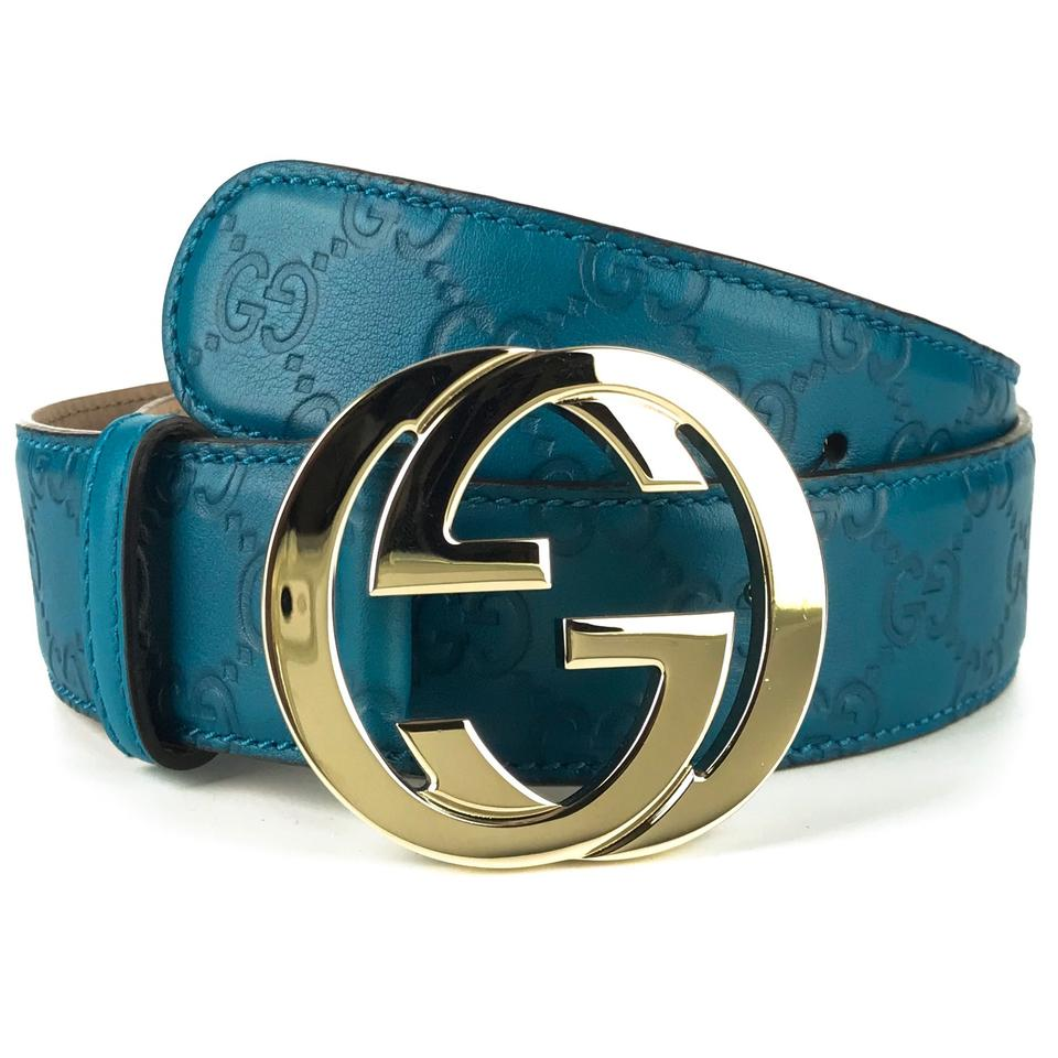 99be701d0f3 Gucci GUCCI 114876 Deep Cobalt Guccissima belt with interlocking G Buckle 85  Image 0 ...