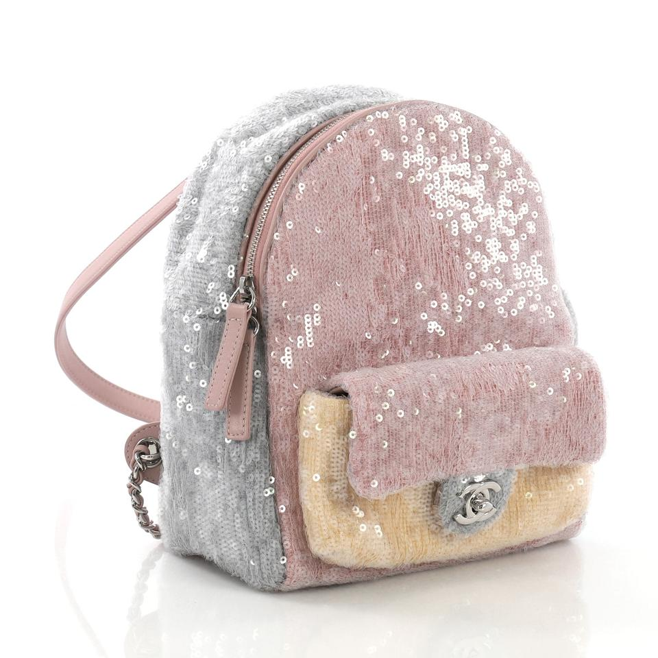 41847c4e7ce7 Chanel Backpack Waterfall Sequins with Mini Lavender and Gray Leather  Backpack - Tradesy