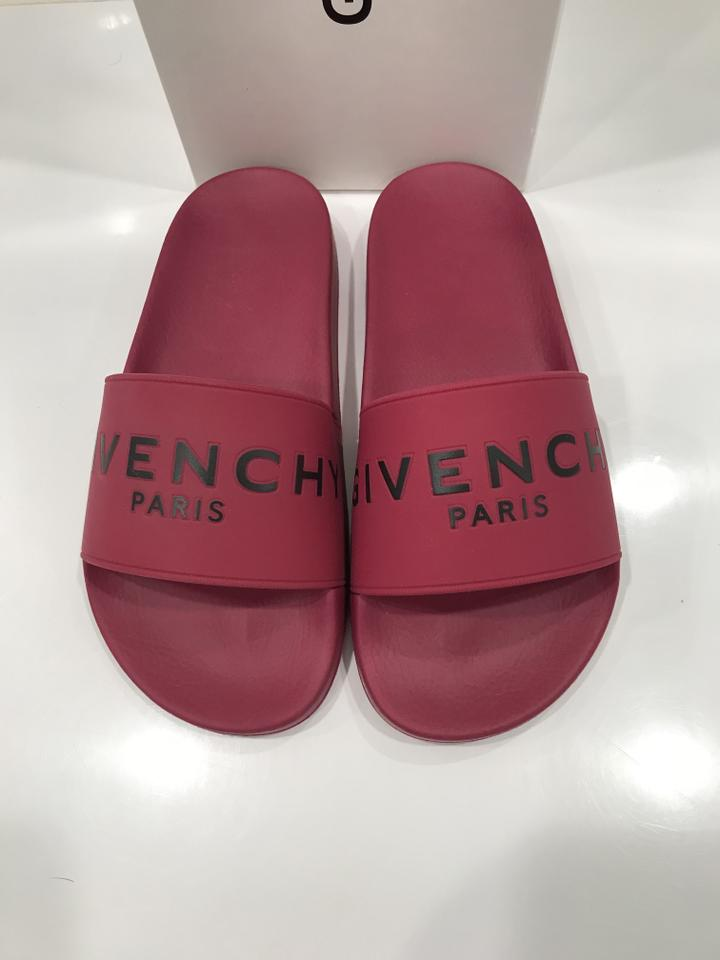 df50de4f452 Givenchy Pink Fig Womens Logo Slip On Rubber Flat 36 Sandals Size US ...