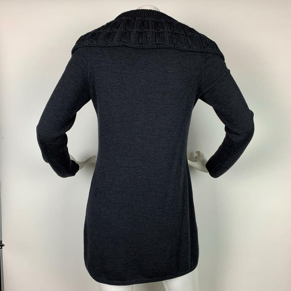 bf269034e07 Elie Tahari Tunic Merino Wool Dark Cowl Neck Women S Gray Sweater ...