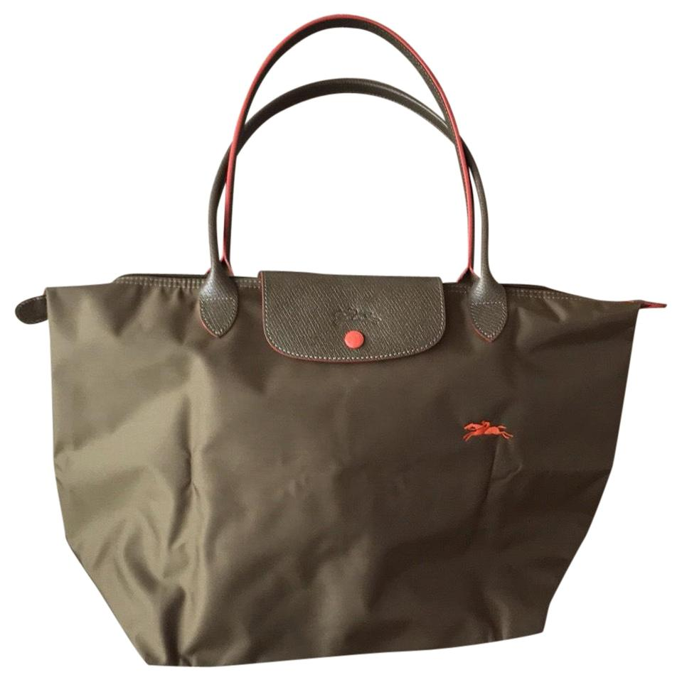 a50ed98e7a3a Longchamp Khaki and Orange Large Le Pliage Nylon Leather Tote - Tradesy