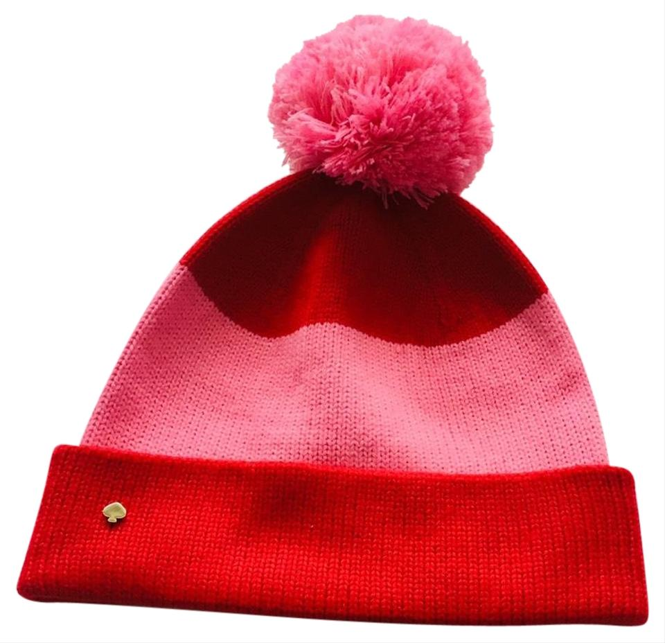 226431cab0ec0 Kate Spade Pink and Red Color Block Beanie Hat - Tradesy