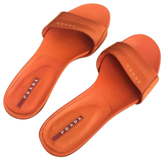 Item - Orange Slides Sandals Size US 7 Regular (M, B)
