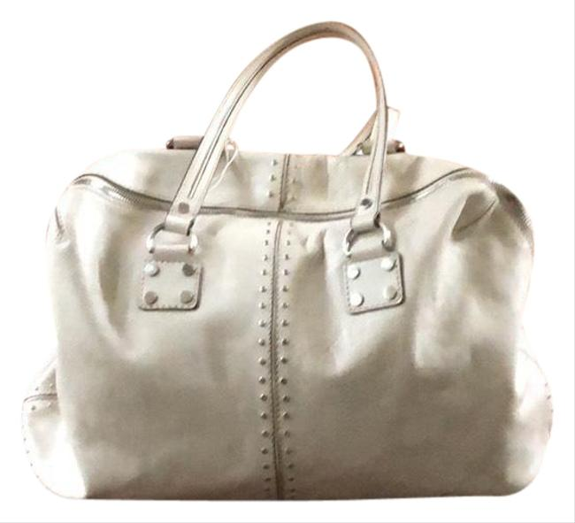 Item - Satchel Or with Zipper. White Leather Tote