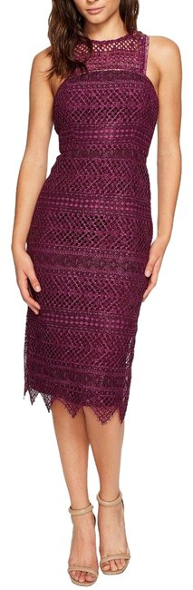 Item - Plum Vitality Lace Sheath Mid-length Cocktail Dress Size 0 (XS)
