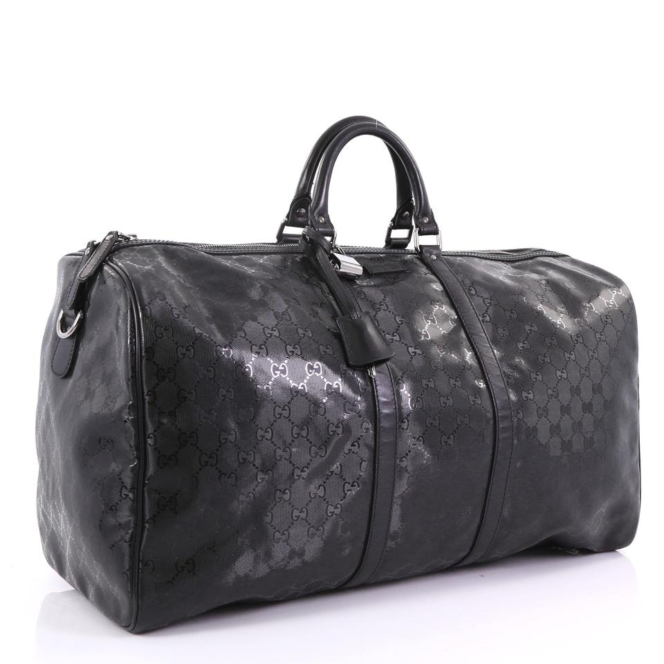 b9cc852d0ba Gucci Carry On Convertible Duffle Gg Imprime Large Black Leather  Weekend Travel Bag - Tradesy
