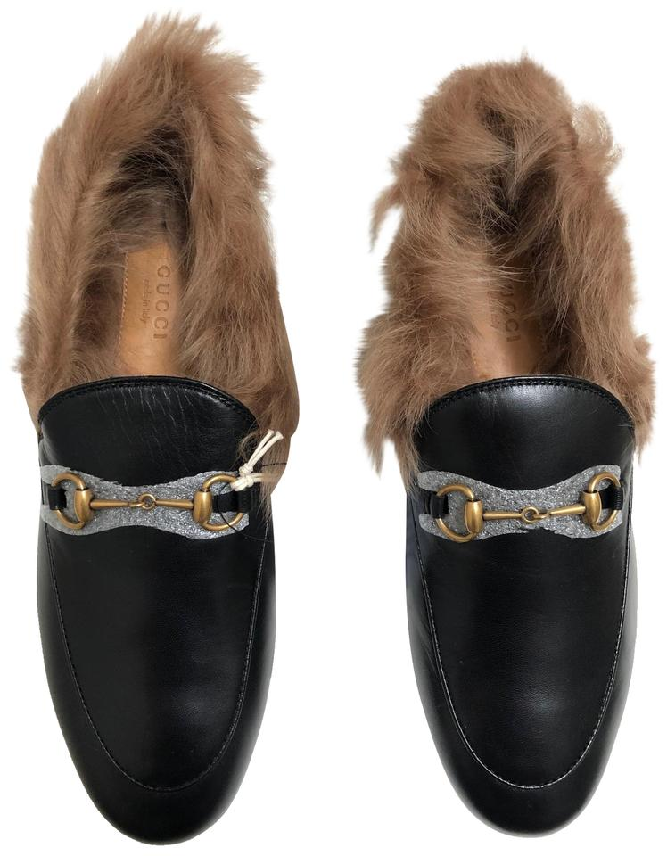 fdca7307dd2 Gucci Black Women s Jordaan Leather Loafer with Fur In Flats Size EU ...