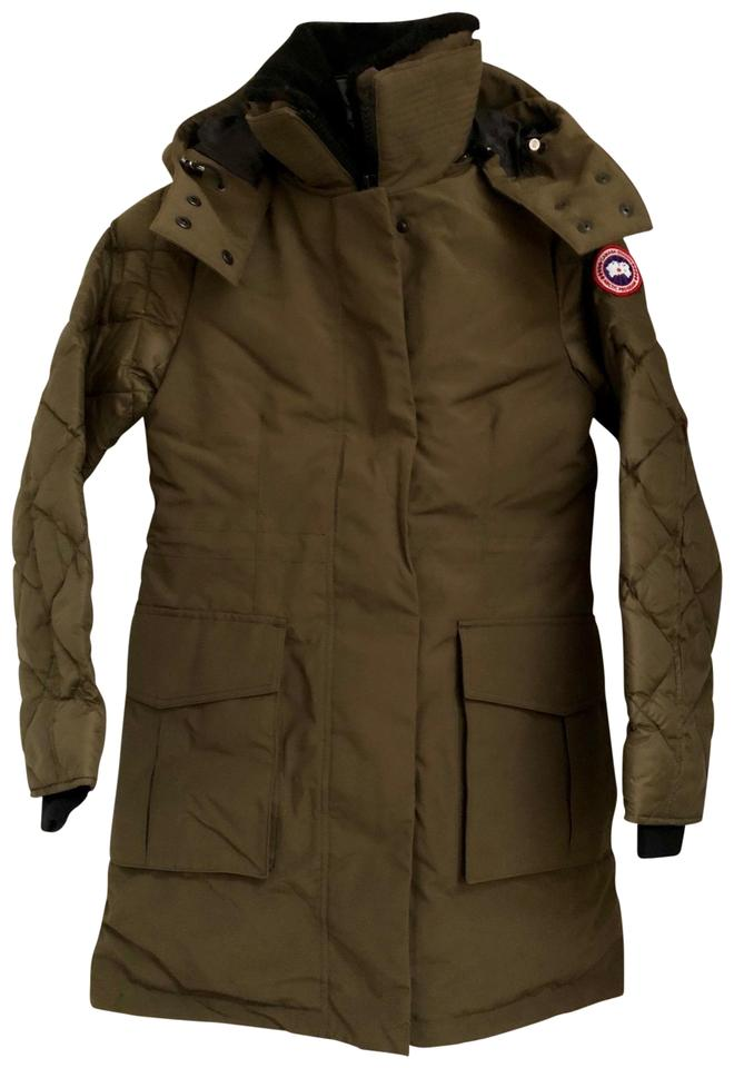 Canada Goose Green Women s Elwin Down Parka In Military Small Coat ... 057f40764