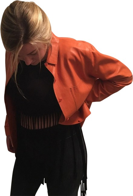 Revue Orange Leather Jacket Size 12 (L) Revue Orange Leather Jacket Size 12 (L) Image 1