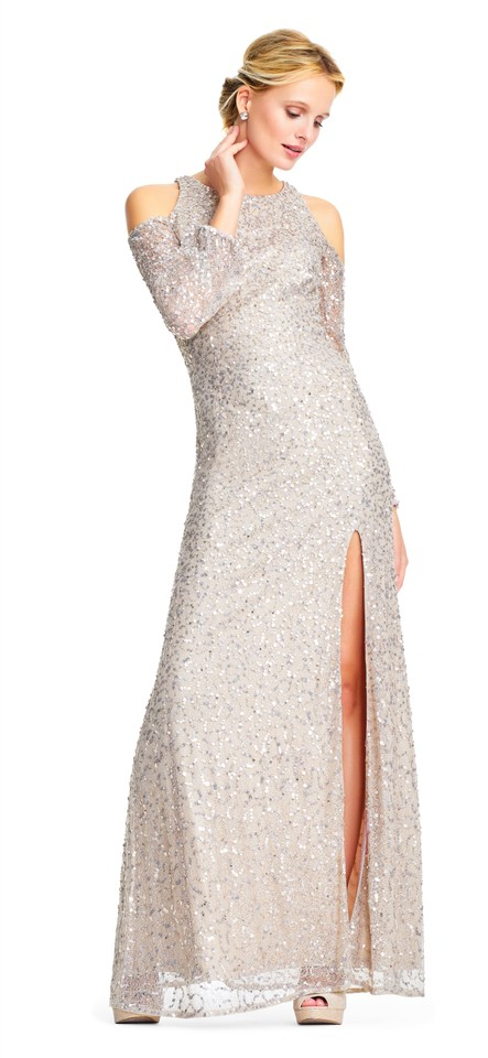 d950fef52a5 Adrianna Papell Nude Sequin Beaded Gown Sheer Cold Shoulder Sleeves ...