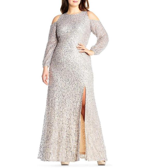 Item - Nude Sequin Beaded Gown Sheer Cold Shoulder Sleeves Long Formal Dress Size 14 (L)