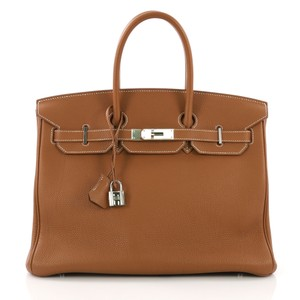 Hermès Leather Tote in Gold brown