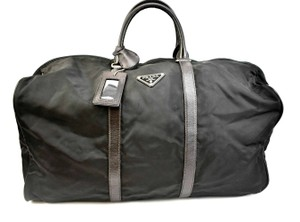 Prada Vela Saffiano Black Travel Bag